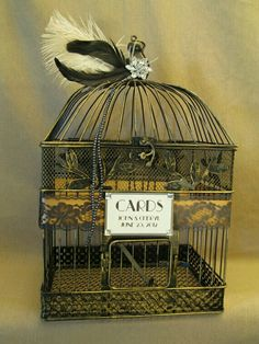 Wedding card cage with feathers and rhinestones