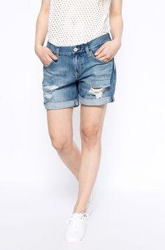 Spodenki krótkie damskie jeansowe - Hilfiger Denim - Szorty Boyfriend