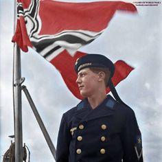 Kriegsmarine sailor under the Third Reich flag