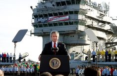 "President Bush addresses sailors in the famous ""Mission Accomplished"" speech, declaring the end of major combat in Iraq. [2003]"