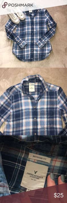 American Eagle Boyfriend-Fit Flannel Great condition no flaws!  Size: S Style: Boyfriend fit Retail: $44.95 American Eagle Outfitters Tops Button Down Shirts