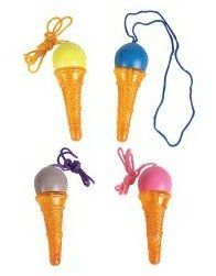 """Ice Cream Cone Bubble Necklaces (1 dz) by Rhode Island Novelty. $7.99. Ice cream cone bubble necklaces let kids wear fun ice cream cones around their necks. Bubbles hide inside the 4"""" cones for bubble blowing fun. Ice cream cone necklaces come in assorted colors and make fun party favors for birthday parties or tea parties, as well as carnival prizes. 1 dozen per set."""