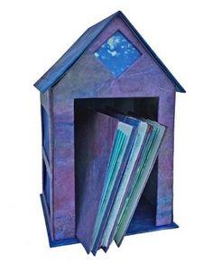 """Blue Box 2"" handmade paper construction by artist Julianne Fuchs-Musgrave. Read her interview at www.ArtsBusinessInstitute.org."
