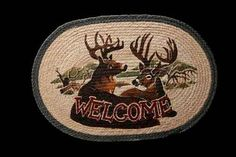 """HAND PRINTED DEER WELCOME RUG - This rug has been hand printed with as many as ten different colours! Detailed images with unparalleled shading and colour sets the standard for this beautiful rug. 20"""" x 30"""""""