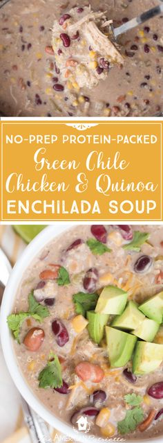 No-Prep Protein-Packed Green Chile, Chicken & Quinoa Enchilada Soup; Easy Meals; Healthy Meals; Easy Slow Cooker Soup #crockpot #slowcooker #enchilada