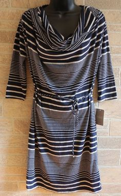 1c41160171e21 HTF Anthropologie Market Blue Gray Striped Cotton Dress Womens Medium Cowl  Neck #Anthropologie #ALineDress #Casual