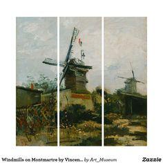 Windmills on Montmartre by Vincent Van Gogh Triptych Wood Wall Art, Wall Art Decor, Van Gogh Prints, Windmill Art, Windmills, Triptych, Vincent Van Gogh, Wall Decals, Poster