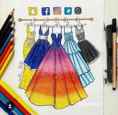 I'm really fan of those social media drawings I can't choose which dress I would bought if possible, they're all so beautiful and goals! Which one would you choose? App Drawings, Disney Drawings, Art Sketches, Amazing Drawings, Cute Drawings, Amazing Artwork, Social Media Art, Fashion Design Drawings, Medium Art