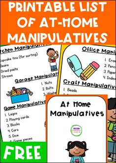 This list of At-Home Learning Manipulatives for Pre-K