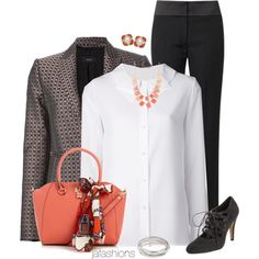 """""""Fall Work Wear in Coral & Grey"""" by jafashions on Polyvore"""