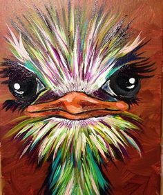 Ostrich and easy animals painting canvas Easy Canvas Painting, Painting & Drawing, Acrylic Painting Animals, Colorful Animal Paintings, Basic Painting, Painting Snow, Image Painting, Winter Painting, Pour Painting