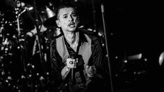 BERLIN, GERMANY - MARCH 17:  (EDITORS NOTE: Image converted to black and white) Singer Dave Gahan of Depeche Mode performs li