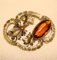 Fabulous Antique AMBER GLASS & HONEY BEE Sash Pin Brooch