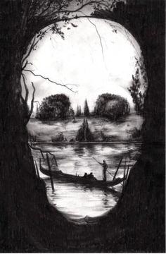 black and white skull optical illusion
