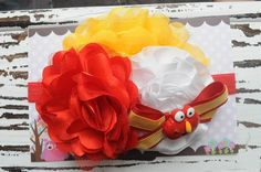 CUSTOM :: Elmo red/yellow/white mixed flower headband.  $14.50 plus shipping. Made by Danica's Chic Bowtique.