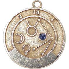 http://rubies.work/0463-sapphire-ring/ Vintage Zodiac Charm / Pendant 14K Gold & Sapphire..