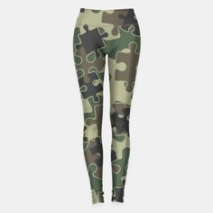 Jigsaw Puzzle Pieces Camo WOODLAND GREEN Leggings, Live Heroes