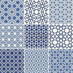 Set of Arabic seamless patterns, vector royalty-free stock vector art Islamic Art Pattern, Arabic Pattern, Pattern Art, Pattern Design, Japanese Textiles, Japanese Patterns, Geometric Designs, Geometric Art, Textures Patterns