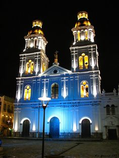 full size Night shot of the Santo Domingo Church in Cuenca, Ecuador. Right by our hotel and close to the center. Cuenca Ecuador, Countries To Visit, Countries Of The World, Iglesia San Francisco, Equador, Family Roots, Basque Country, Travel Abroad, South America