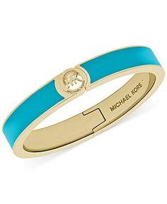 Michael Kors Gold-Tone Turquoise Epoxy Logo Bangle Bracelet - Fashion Jewelry - Jewelry & Watches - Macy's