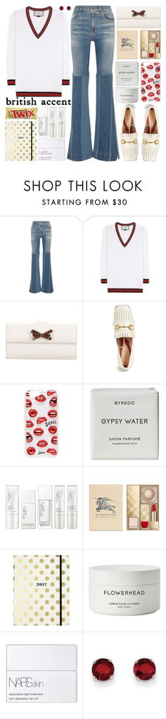 """""""Fall British accent"""" by barbarela11 ❤ liked on Polyvore featuring Roberto Cavalli, Gucci, Sonix, Byredo, NARS Cosmetics, Burberry, Kate Spade and Kevin Jewelers"""