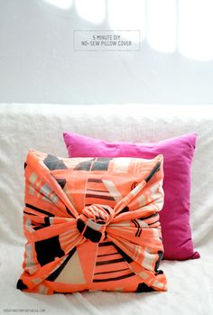 5 Minute no-sew pillow cover