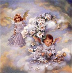 "Sandra Kuck "" Heavenly Hideaway"" Children Angel Art Print Image Size x Angel Images, Angel Pictures, Cherub Baby, Angel Clouds, I Believe In Angels, Angel Prayers, Angels Among Us, Angels In Heaven, Wow Art"