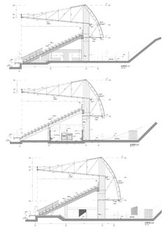 Image 24 of 27 from gallery of Chinquihue Stadium / Cristian Fernandez Arquitectos. Typical Section, Axes 15 to 19 Building Structure, Steel Structure, Architecture Drawings, Architecture Details, Stadium Architecture, Pavilion Architecture, Auditorium Design, Space Frame, Sports Stadium