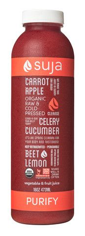 Suja Purify. 7 carrots, 1 apple, 2 celery stalks, a 1/4 of a cucumber, 1/2 a beet and 1/2 a lemon.