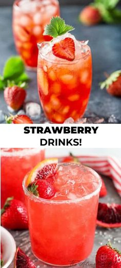 We love strawberry drinks! Especially wonderfully fruity gorgeous drinks! So we gathered the very best strawberry drink recipes to satisfy every craving. Want a show stopping strawberry cocktails for a party, then just try some of these recipes. Strawberry Drink Recipes, Frozen Strawberry Lemonade, Strawberry Cocktails, Sangria Recipes, Drinks Alcohol Recipes, Smoothie Recipes, Punch Recipes, Healthy Drinks, Fruity Drinks