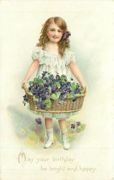 Victorian girl w/ basket if violets...sweet...