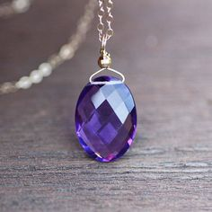 Large Natural Amethyst Pendant in Solid 14K Yellow Gold