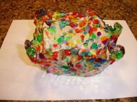A bowl made from melted plastic beads!  This site also shows how to make jewelry and suncatchers too!