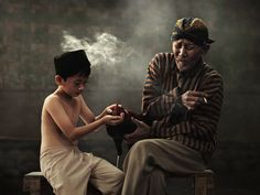 grandfather with his granddaughter smoke was stroking cock #jakarta