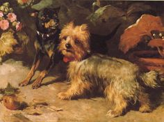 Yorkshire Terrier and Miniature Pinscher vintage print