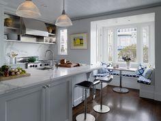 Kitchen with Restoration hardware clemson prismatic single pendant, Lem piston stool with leather seat, Crown molding, Flush