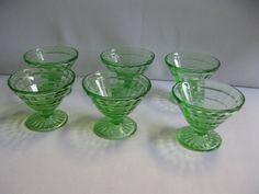 Hocking Glass Block Optic Uranium Green by hazeleyesartglassetc $42.99