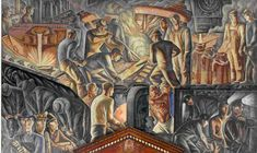 """""Steel Industry,"" Howard Norton Cook, 1936, fresco mural, 10'6″ x 17'5″, .U.S. Post Office and Courthouse, Pittsburgh."