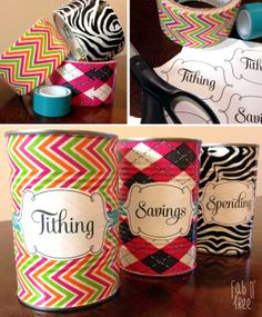 Easy Idea. Tithing, Savings, Spending Jars… Free printable labels