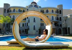 This cool double patio lounger furniture by innovative young designer Victor M. The Loopita Bonita patio Lounger inspired by the rol.