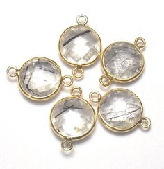 10 Pcs Black Rutile Round Shape Double bail Handmade Bezel Connector,  14 mm Round / Faceted Connector / Gold Plated Bezel (PJ415400PJ) by PlantofJewel on Etsy