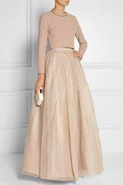 Abella silk-organza maxi skirt