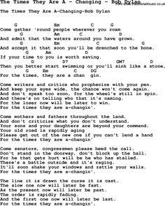 Song The Times They Are A by Changing by Bob Dylan, with lyrics for vocal performance and accompaniment chords for Ukulele, Guitar Banjo etc.