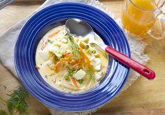 Kremet torskesuppe med fennikel Cheeseburger Chowder, Ethnic Recipes, Soups, Food, Essen, Soup, Meals, Yemek, Eten