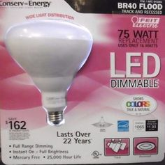 BR40 75W LED FLOOD BULB FEIT DIMMABLE 1065 LUMENS BRIGHT INSTANT-ON 75 WATT B12 #FeitElectric