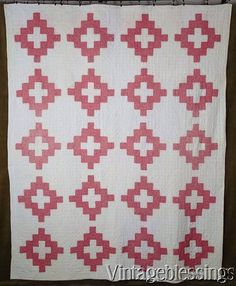 $195 Beautiful and Early! c1880 Antique Album Double Pink & White QUILT www.Vintageblessings.com