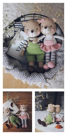 Amigurumi Teddy Bear in Pajamas Free Pattern – Free Amigurumi Patterns Crochet Teddy, Crochet Bear, Crochet Dolls, Crochet Animal Patterns, Stuffed Animal Patterns, Amigurumi Patterns, Bear Patterns, Amigurumi For Beginners, Easy Stitch