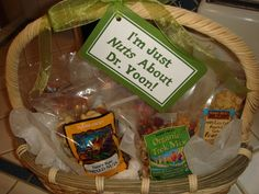 My favorite thank you gifts for our doctors...Trader Joe's nut gift basket with a fun tag.