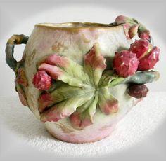 Amphora art nouveau vase with dimensional chestnuts and leaves | Etsy Faux Flower Arrangements, Dresden Porcelain, Thing 1, Art Nouveau Design, Cream Roses, Glass Dishes, Pottery Art, Antique Pottery, Faux Flowers