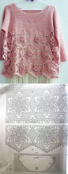 Pink pullover crochet